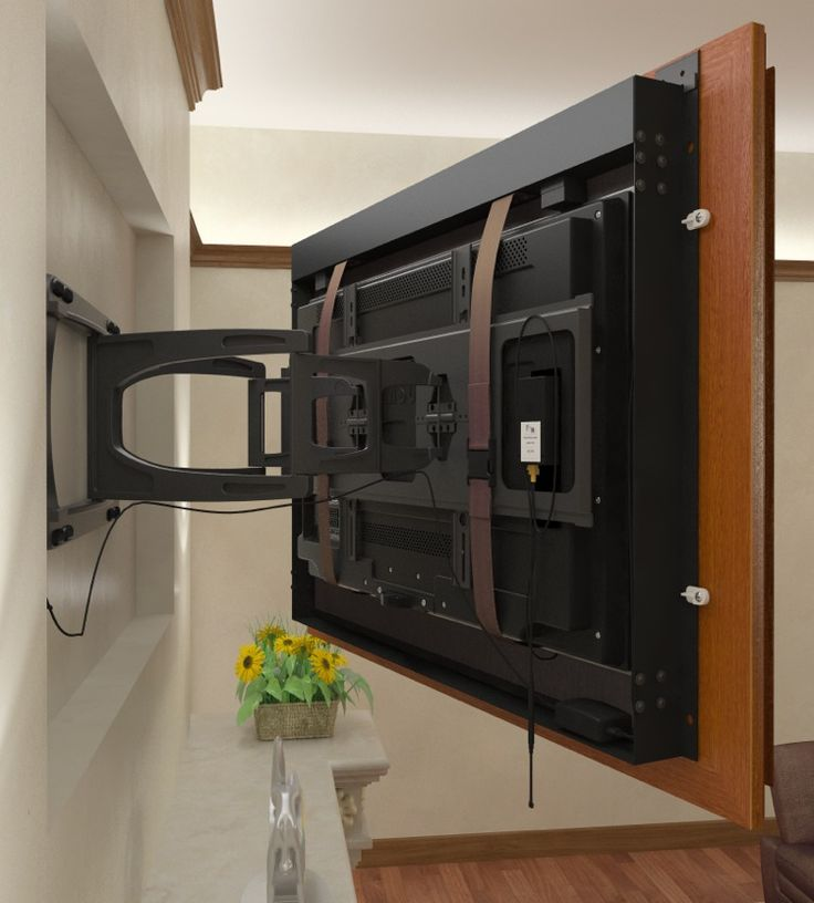 recessed tv using a swing arm mount with the frame attached to the tv ...