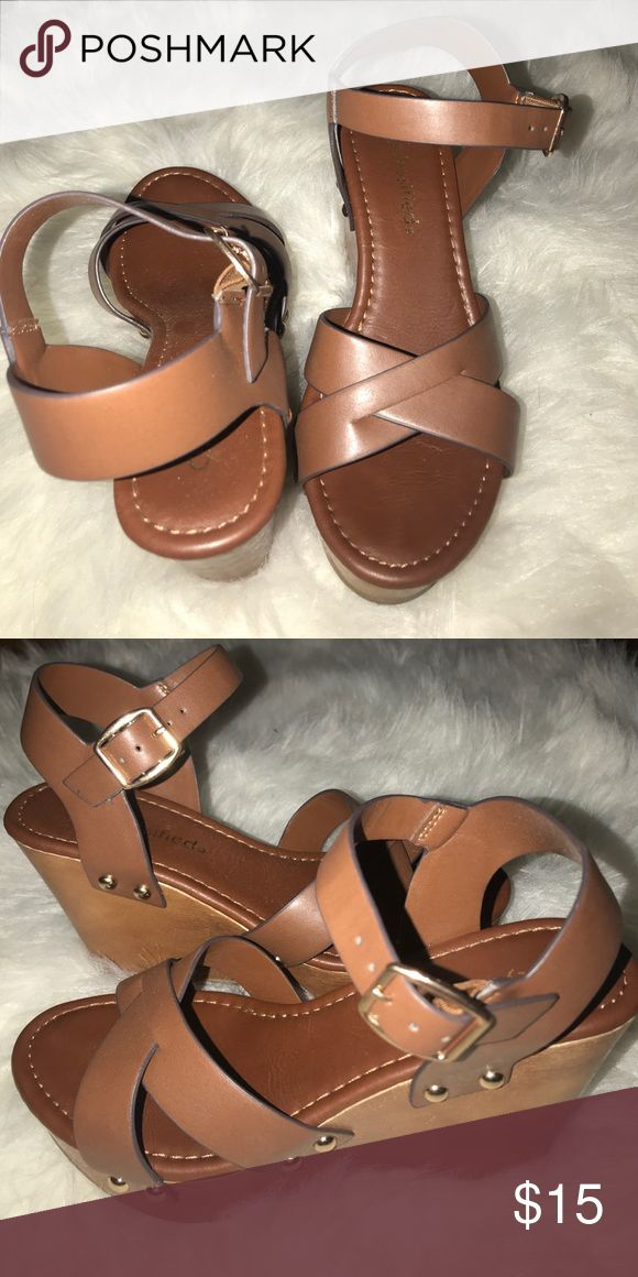 Brown wedges size 5.5 Worn once to my graduation that's it. Got them at tilly's Tilly's Shoes Wedges