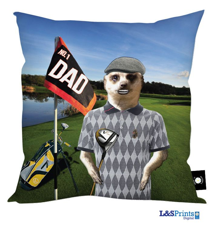 DAD MEERKAT GOLFING HAPPY FATHERS DAY GOLF DESIGN CUSHION GREAT GIFT IDEA in Home, Furniture & DIY, Celebrations & Occasions, Other Celebrations & Occasions | eBay