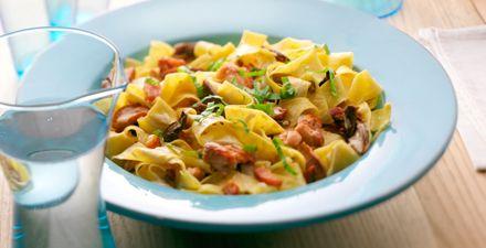 Recept van Pappardelle met kip en funghi porcini saus