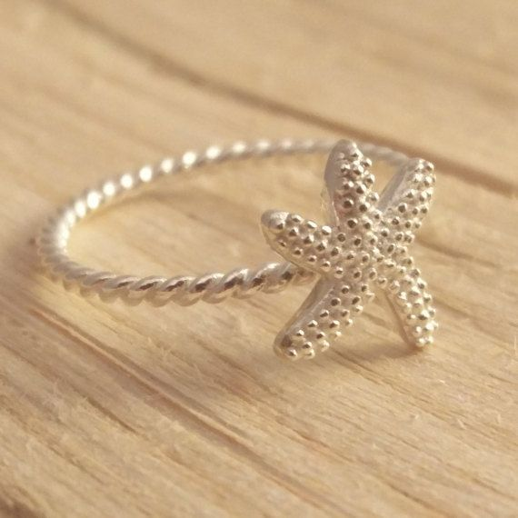 Sterling Silver Starfish Ring Twisted Rope Style Band by ShopZYLA