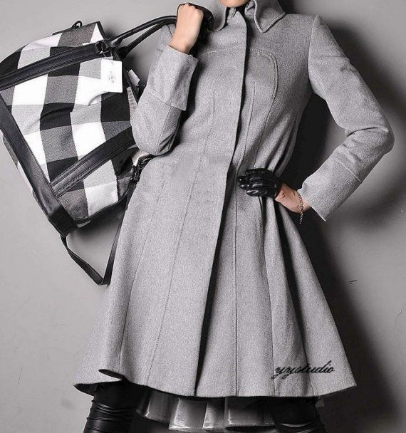Smoke Gray Cashmere Wool Pleated Skirt Long Victorian by yystudio, $398.00