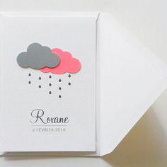 """Faire-part de naissance fait-main nuages """"roxane"""""""