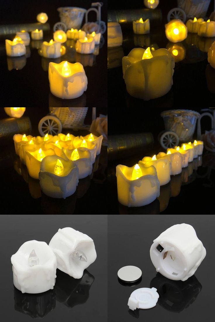 [Visit to Buy] Yellow Flicker Battery Candles Plastic Electric Candles Flameless Tea Lights For Christmas Halloween Wedding Decoration #Advertisement