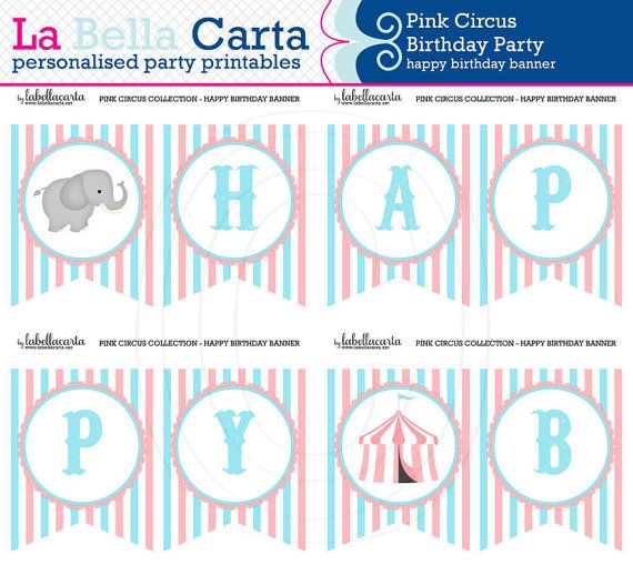 "Pink Circus Personalised ""Happy Birthday"" Banner, Birthday Party, Printable Party, Circus DIY Party, Printable Party Decor"