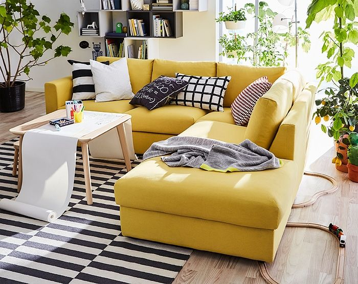 Wondrous This Golden Yellow Sectional Sofa Is Designed To Be Designed Machost Co Dining Chair Design Ideas Machostcouk