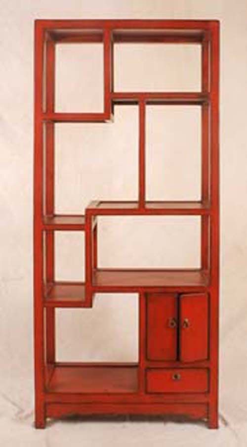 Chinese style red display shelf 2 doors 1 drawer for Oriental reproduction furniture