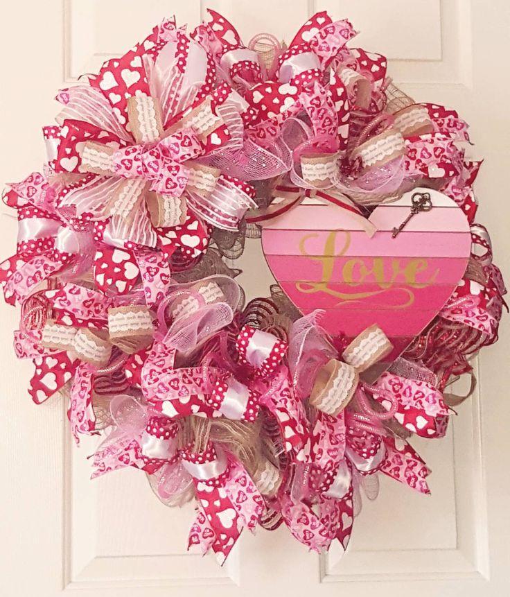Rustic Valentine Wreath, Valentine's Day Wreath, Heart Wreath, Winter Wreath, Deco Mesh Wreath, Ribbon Wreath, Rustic Wreath by WoodnWhimsyCreations on Etsy https://www.etsy.com/listing/570743356/rustic-valentine-wreath-valentines-day