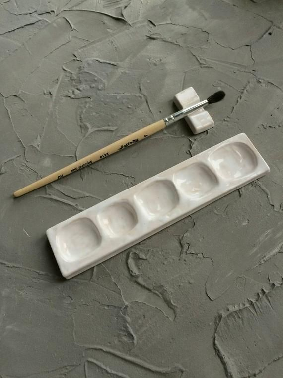 White Ceramic Palette With Brush Holder Clay Art Projects Handmade Paint Clay Pottery