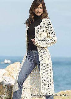 Hooked on crochet: Casaco de croche / Crochet coat      ♪ ♪ ... #inspiration_crochet #diy GB http://www.pinterest.com/gigibrazil/boards/