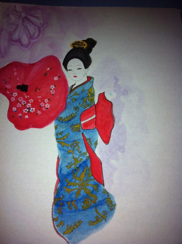 Geisha en acuarela