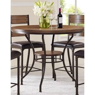 Shop For Stockton Oak Round Pub Height Table Get Free Shipping At Overstock