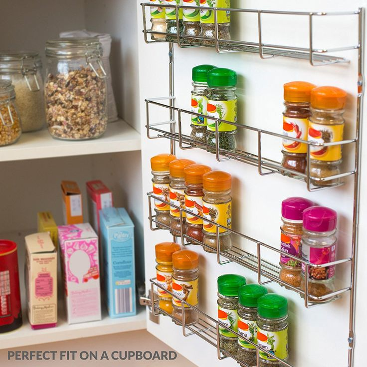 Andrew James Spice Rack With Tiers Options, Large Chrome Herb U0026 Spice Rack  Organiser For Up To 48 Jars Or Packets Of Spices, Wall Mounted Or Cupboard  Door ...