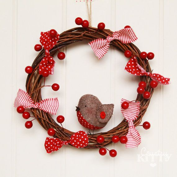 Christmas robin bird wreath with faux red by CountrykittyHandmade