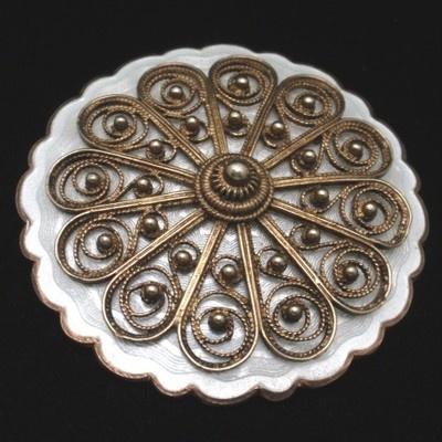 Solje Brooch Pin Enamel Sterling Silver Vintage Norway Ivar Holt White