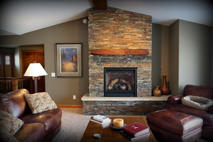 Living room paint colors with wood trim and stone - Living room wall color with tan furniture ...