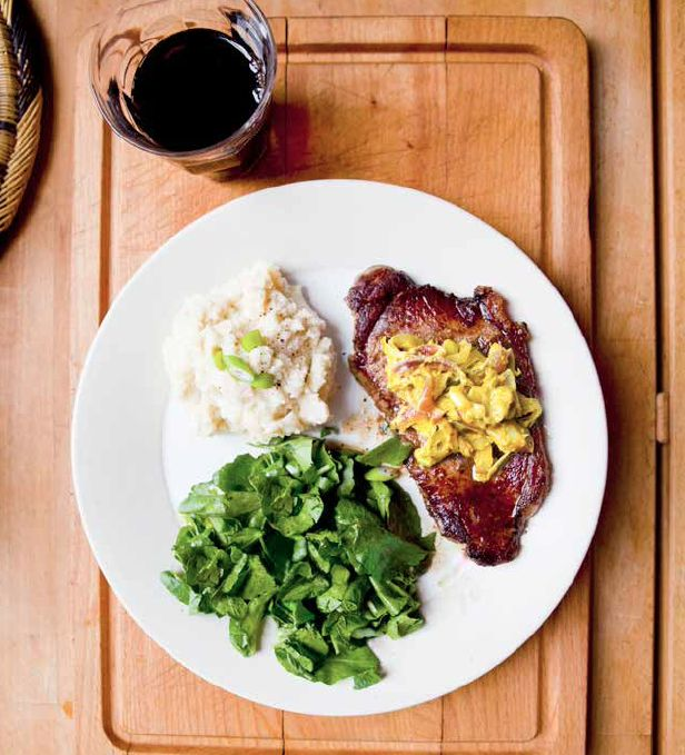Steak with Mustard Leek Sauce and Watercress Salad