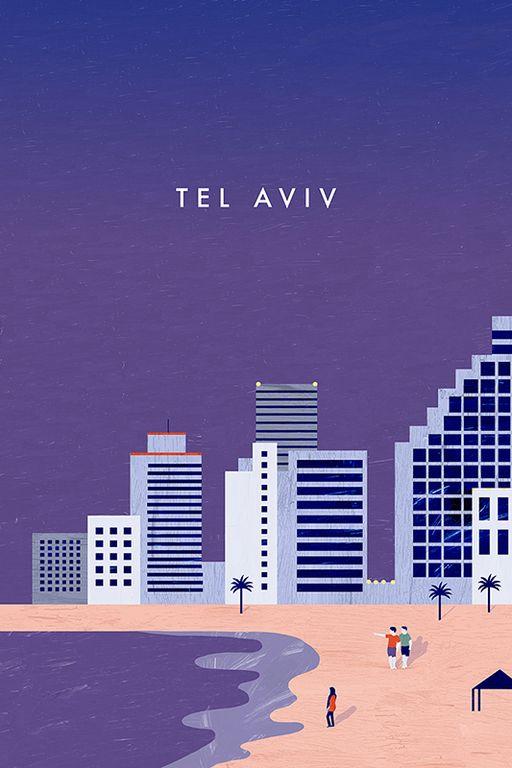 Tel Aviv Travel Poster by Katinka Reinke. Dein Lieblingsort als Poster, Tasche oder Duschvorhang