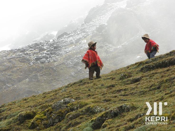Some peruvian kids as seen by our Kepri group, on the Salkantay Trek, heading to Machu Picchu, Peru