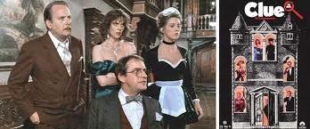 """Clue""  (1985)  Martin Mull (Colonel Mustard), Lesley Ann Warren (Miss Scarlet), Colleen Camp (Yvette) and Christopher Lloyd (Professor Plum)"
