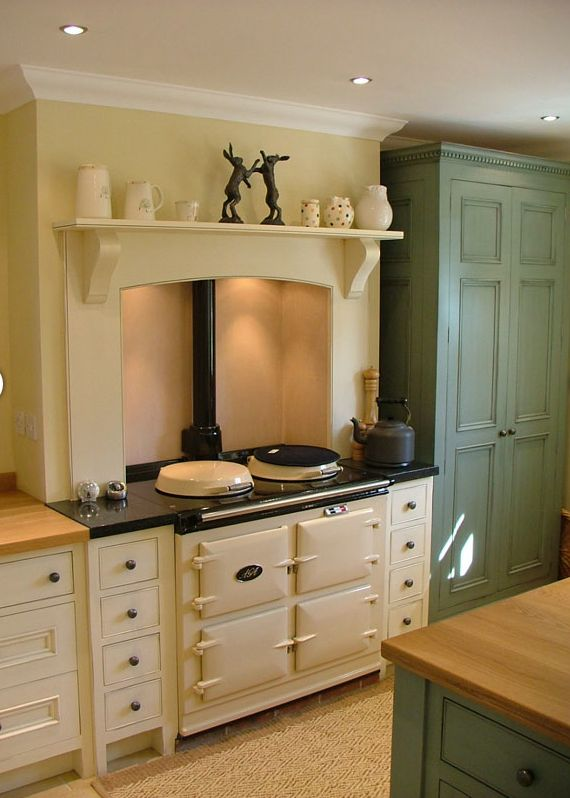 Country kitchen in cream and duck egg