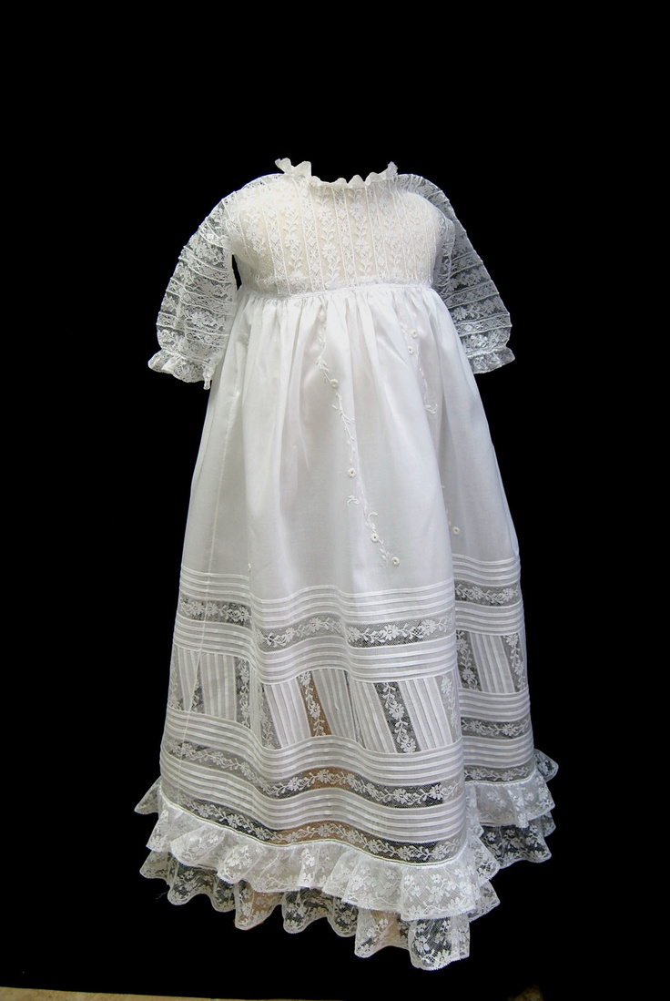Diagonal Lace Christening Gown