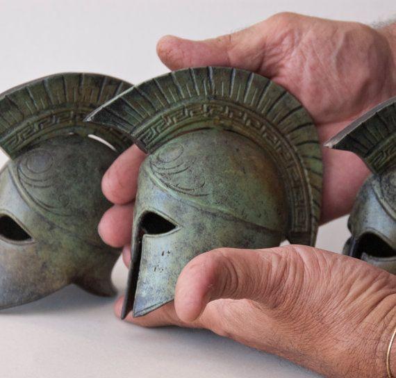 Bronze Helmet, Greek Key Crest Helmet, Ancient Corinthian War Helmet, Bronze…