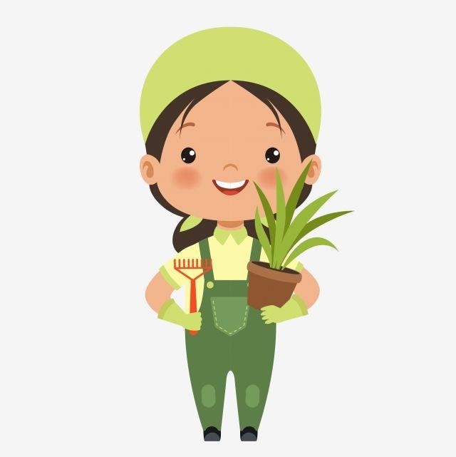 Flower Farmer Gardener Weeding Raising Flowers Cartoon Gardener