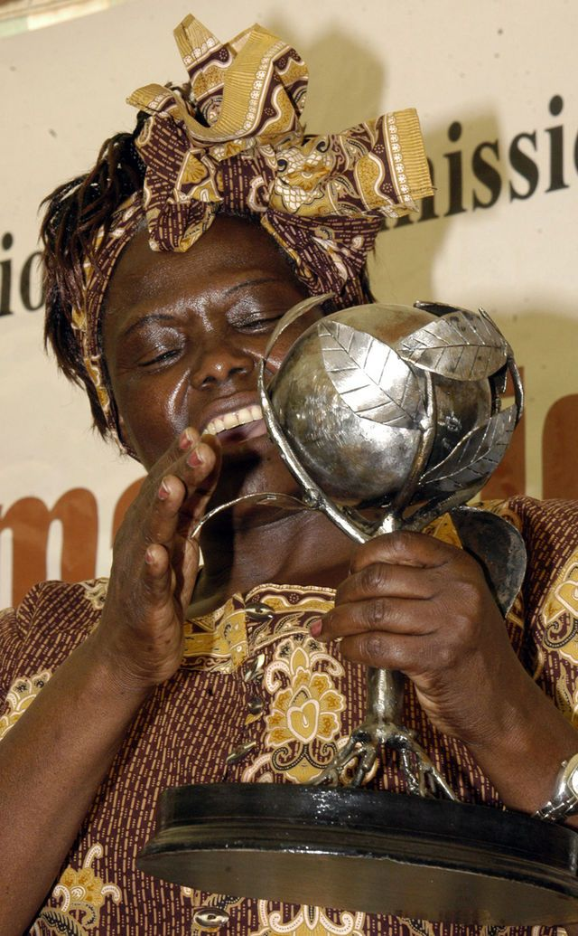 """""""Prof. Wangari Maathai, a Kenyan environmentalist and political activist (who won the coveted Nobel prize for her effort towards sustainable development, democracy and peace) receives a trophy awarded to her by the Kenya national human rights commission for her contribution towards humanity."""" http://en.wikipedia.org/wiki/Wangari_Maathai"""