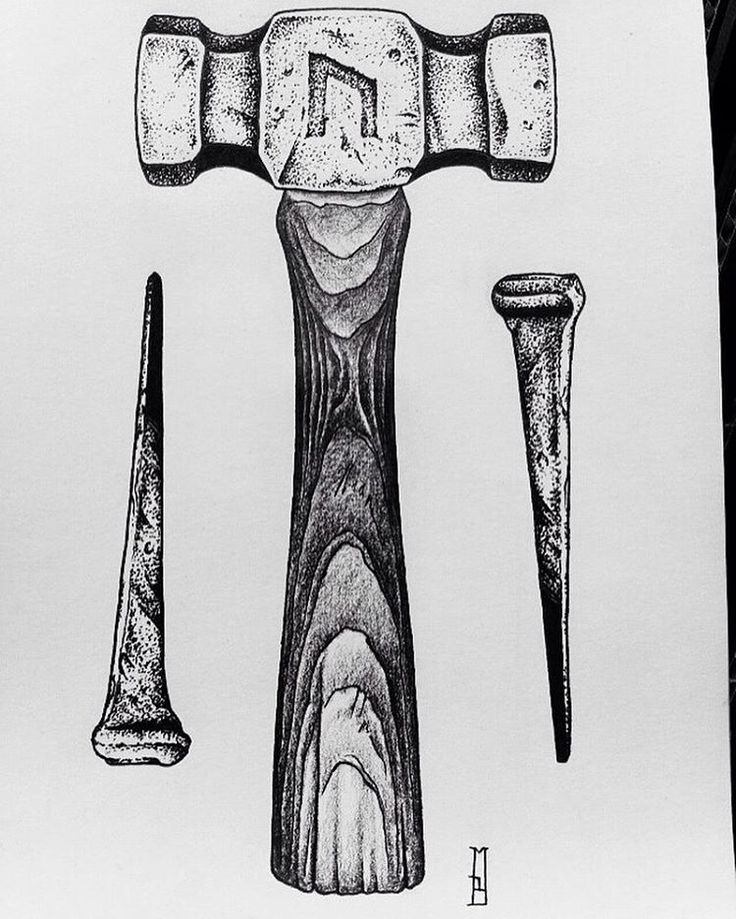 Roman Nails Drawingtattoo: More Tools And Blades... Project Available #hammer #nail