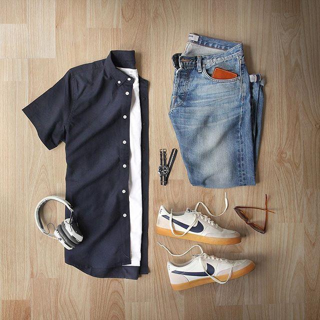 Getting over the hump.  Shirt: @saturdaysnyc Midnight Esquina Oxford  T-Shirt: @sunspelclothing Shoes: @nike Killshot 2 for @jcrew Watch: @timex for @jcrew Sunglasses: @rayban Headphones: @vmoda Denim: @baldwin Wallet: @tannergoods