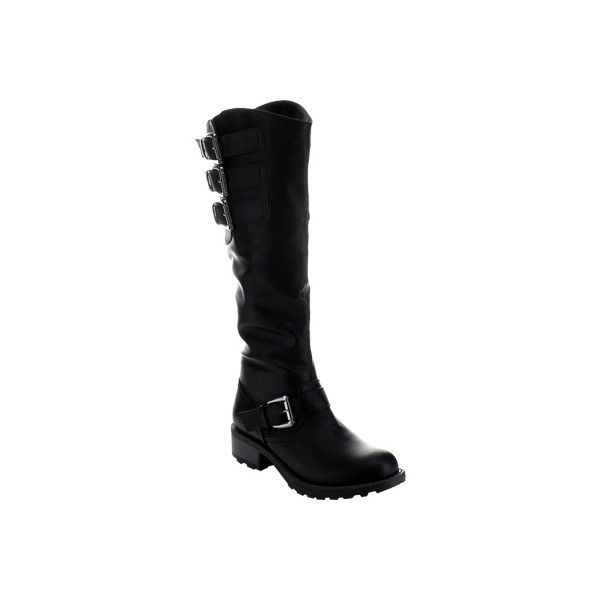 Women's Wild Diva Sanda-2 Buckle Boot - Black Faux Leather Biker Boots (£39) ❤ liked on Polyvore featuring shoes, boots, black, faux leather knee high boots, riding boots, faux leather boots, black motorcycle boots and motorcycle riding boots
