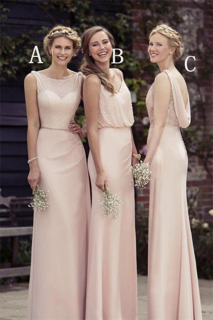 Elegant Prom Dress, Charming Long Light Pink Floor Lenght Open Back Elegant Bridesmaid Dresss