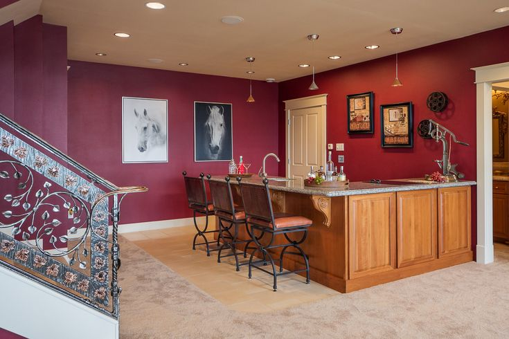 Lower level media room and staircase - Equestrian estate for sale