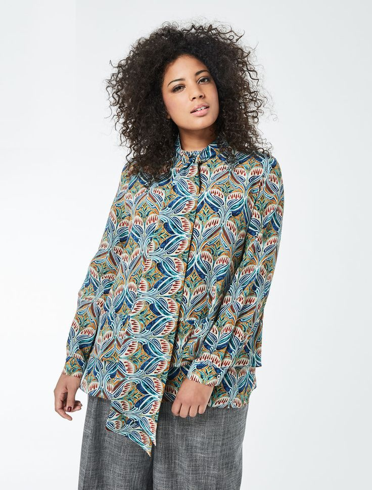 Marina Rinaldi BEATRICE china blue: Printed crêpe de chine shirt.