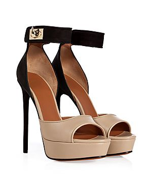An elegant mix of neutral hues amps up the sophistication of Givenchy's shark tooth detailed sandals #Stylebop