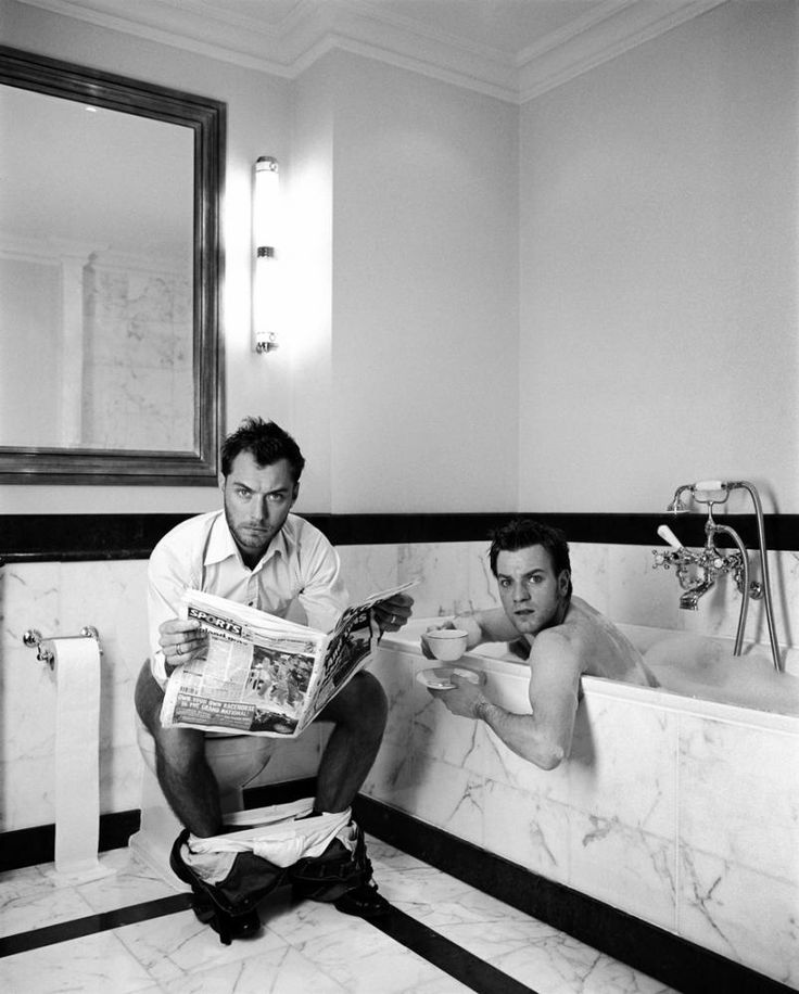"""Jude Law & Ewan McGregor  //  photographer Lorenzo Aguis: Jude Law and Ewan McGregor were """"like a couple"""" when they posed together for a photo shoot."""