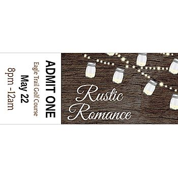 These Rustic Romance Custom Tickets have a unique faux wood-grain background with hanging jar lights and your custom text.