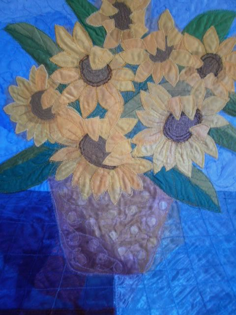 Sunflowers Textile Art by wendieshouse on Etsy