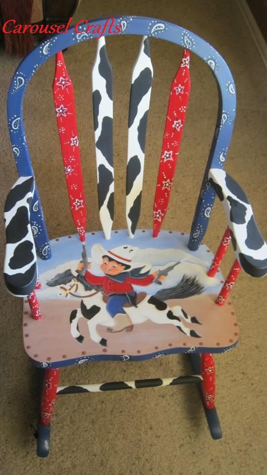 Cute kids Rocking Chair painted in a cowboy theme