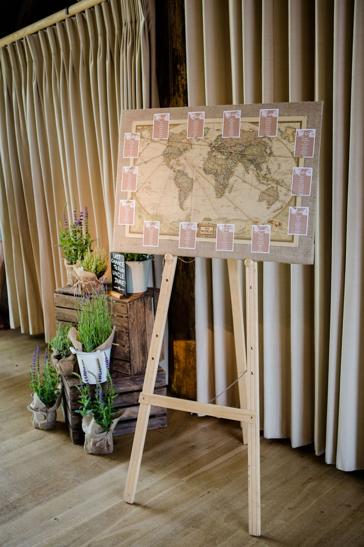 Table Plan Seating Chart World Map Atlas Vintage Antique Easel Pretty Relaxed Lavender Country Wedding http://www.lydiastampsphotography.com/