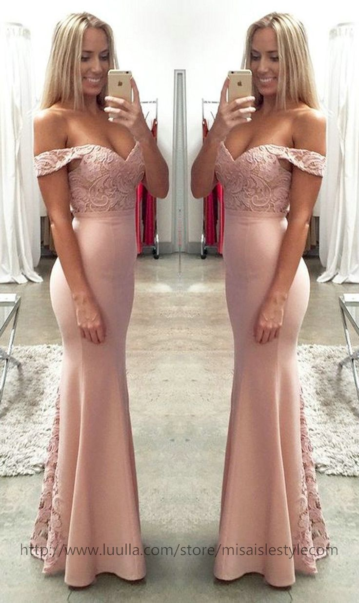 25 cute mermaid bridesmaid dresses ideas on pinterest mermaid off shoulder party dressblush pink lace formal dressesoff shoulder bridesmaid dresses ombrellifo Images
