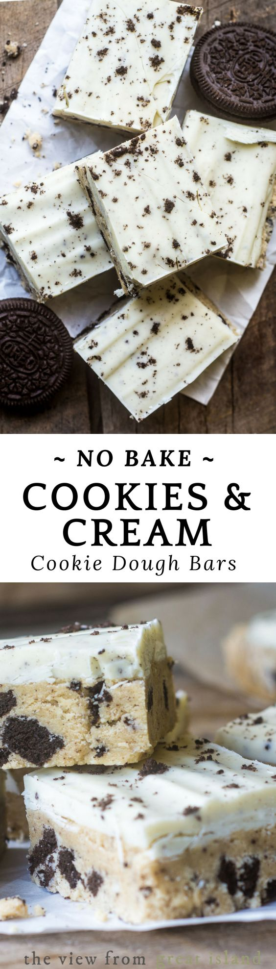 No Bake Cookies and Cream Cookie Dough Bars are a cookie lovers dream, combining crushed Oreos®, classic cookie dough, and a creamy white topping. #nobake #nobakedessert #cookiedough #cookiedoughbars #rawcookiedough #cookiesandcream #oreos #dessert #easydessert