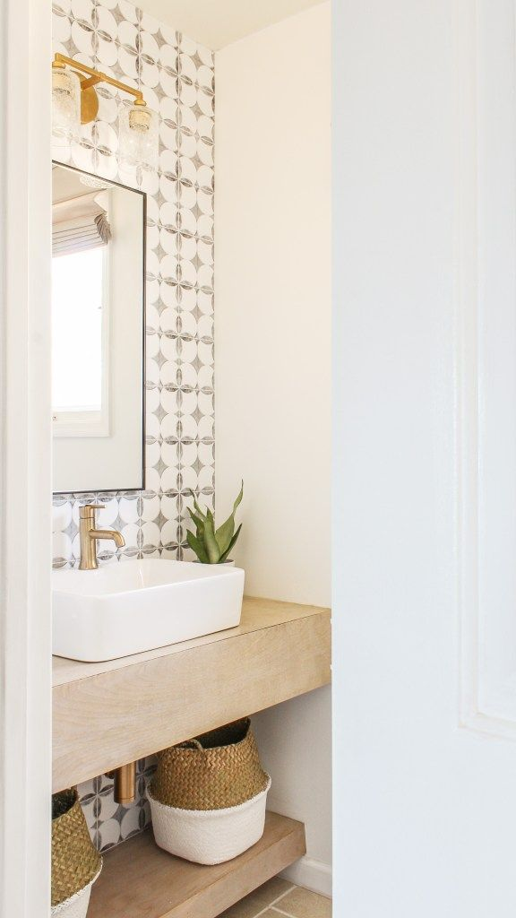 DIY boho modern powder room reveal with full sources
