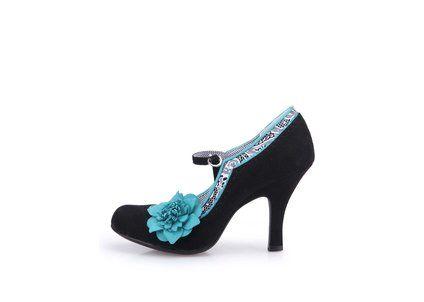 Černé boty na podpatku s modrou květinou Ruby Shoo Poppy