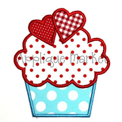 Machine Embroidery Design Applique Cupcake with Hearts. $3.00, via Etsy.