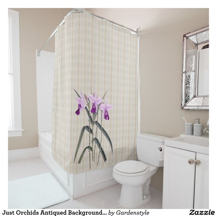 Just Orchids Antiqued Background Shower Curtain