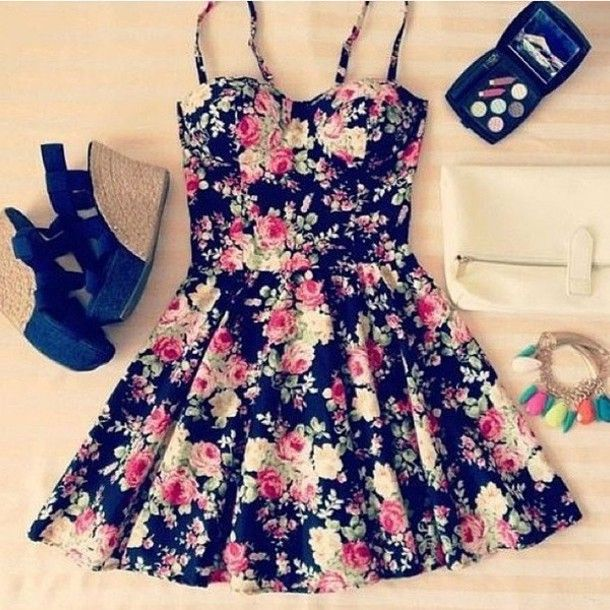 dress clothes floral wedges cute bustier shoes black dress floral pattern flowers fasion spring skater spring outfits green flowers roses girly sundress flowered shorts floral dress