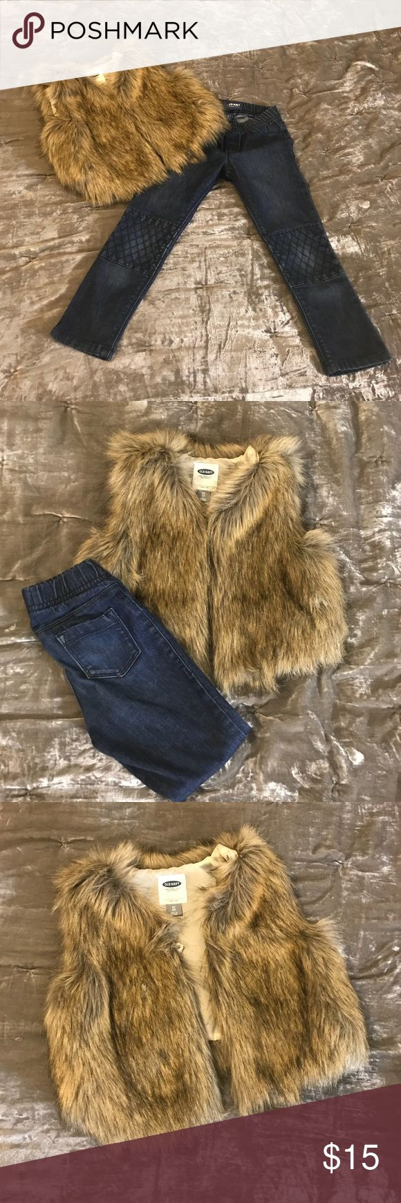 Old Navy 5T vest and Old Navy 5T jeans Old Navy Faux fur vest with button closure. The vest is paired with Old Navy elastic waist dark denim in 5T. Gently used. Old Navy Matching Sets