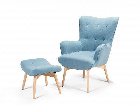 Sessel Blau - Ohrensessel - Relaxsessel - Stuhl + Hocker - Polstersessel - VEJLE